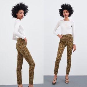 NWT Zara Hi-Rise Skinny Brown Snakeskin Jeans